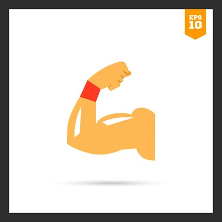 muscular control: icon of man arm silhouette showing biceps muscle Illustration
