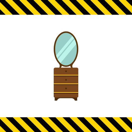 chest of drawers: Multicolored vector icon of wooden chest of three drawers with mirror