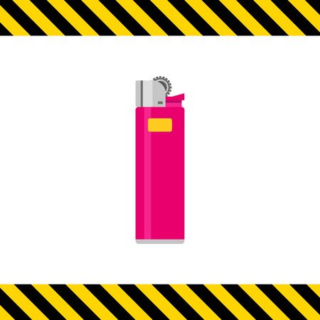 cigarette lighter: Multicolored vector icon of pink cigarette lighter Illustration
