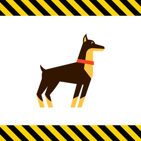 doberman: Multicolored vector icon of standing doberman dog