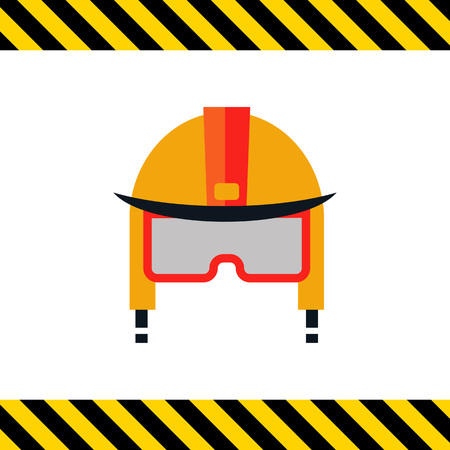 fire fighter: Multicolored vector icon of fire fighter helmet Illustration