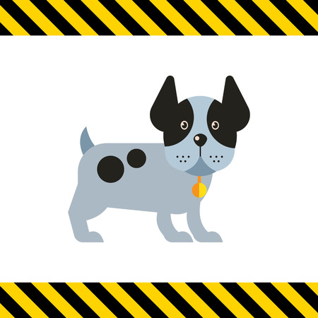 legs up: Multicolored vector icon of funny dog standing with its ears up