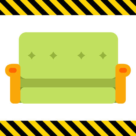 green couch: Multicolored vector icon of green couch with yellow armrests Illustration