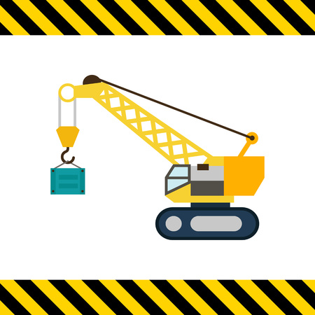 mover: Multicolored vector icon of yellow hoisting crane lifting container