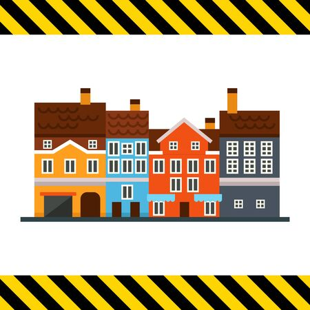 fronts: Vector icon of several multicolored houses fronts