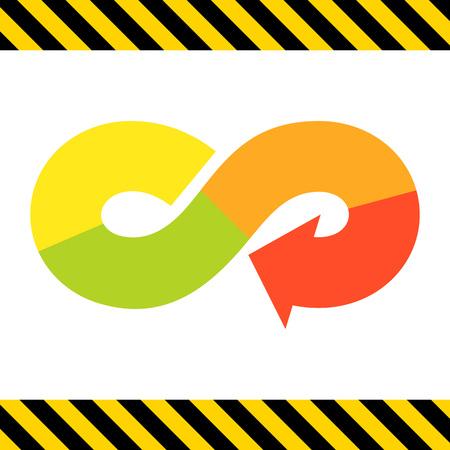 signo infinito: Icono del vector de la flecha en forma de símbolo de infinito multicolor