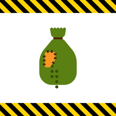 falling out: Vector icon of sack with patch and peas falling out