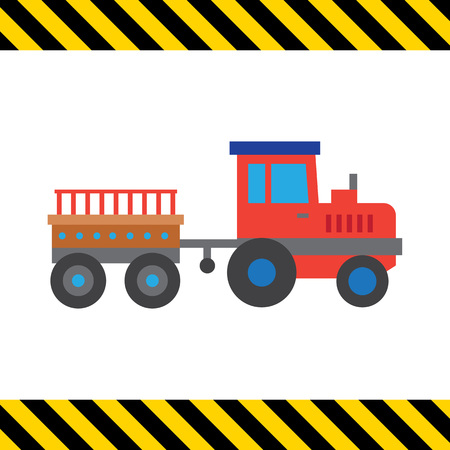 tractor trailer: Multicolored vector icon of red tractor with trailer