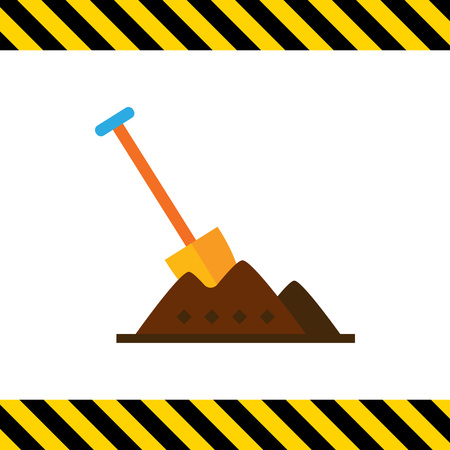 stuck: Multicolored vector icon of shovel being stuck in heap of soil Illustration