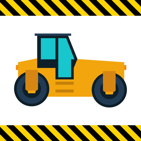 glide: Multicolored vector icon of yellow road roller