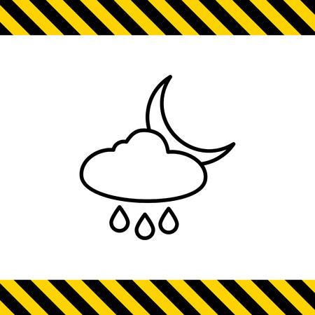 precipitation: Icon of cloud with raindrops and crescent moon Illustration