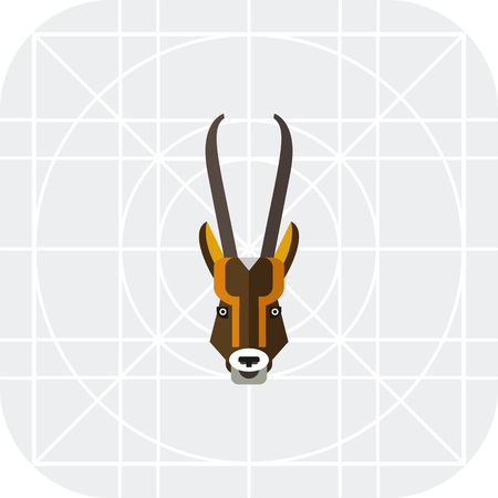 cloven: Multicolored vector icon of antelope head with long horns