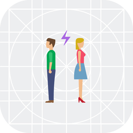 t shirt blouse: Icon of man and woman turning back to each other with lightning sign between them Illustration