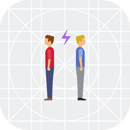 couple back to back: Icon of two man turning back to each other with lightning sign between them Illustration
