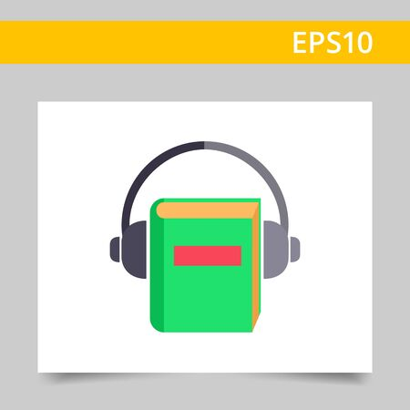 audiobook: Icon of book with headphones Illustration
