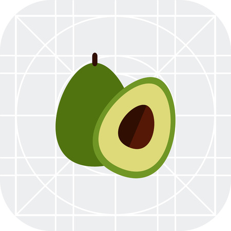 rational: Vector icon of avocado and cut avocado half