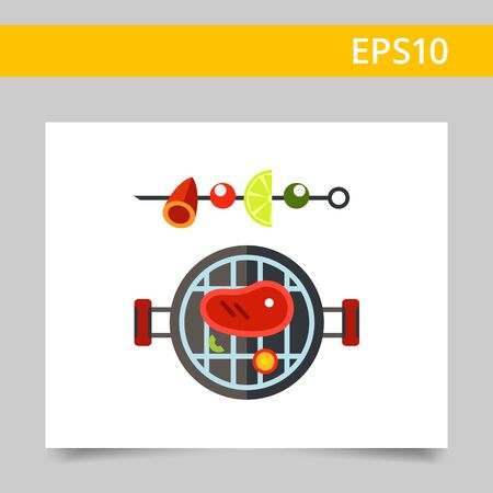 skewer: Multicolored vector icon of barbeque and shish kebab on skewer Illustration