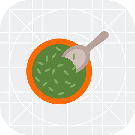 sowing: Vector icon of bowl with seeds and scoop Illustration