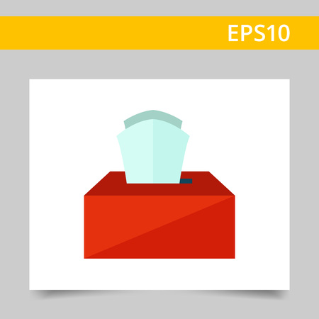 blowing nose: Multicolored vector icon of red carton box with paper tissues