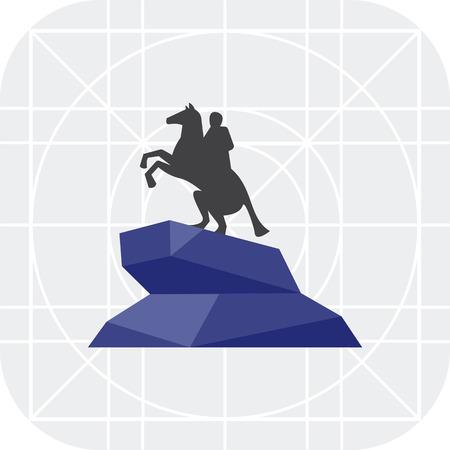 horseman: Vector icon of Bronze Horseman statue Illustration