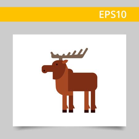 nape: Multicolored vector icon of wild brown moose, side view