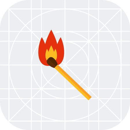 burning: Multicolored vector icon of burning wooden match
