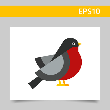 tweeting: Multicolored vector icon ofbullfinch, side view