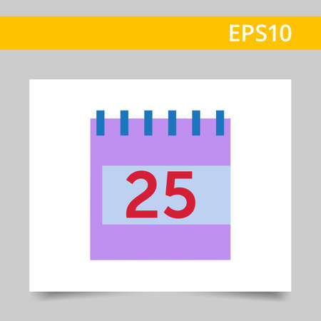 event planning: Vector icon of flip calendar page with date