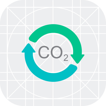 Vector icon of carbon dioxide formula in circle made of arrows 向量圖像