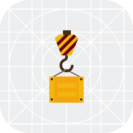 lifting hook: Multicolored vector icon of lifting hook with cargo