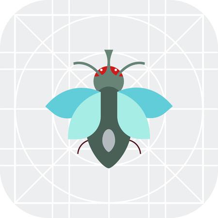 volar: icono de vectores multicolor de la mosca de la historieta, vista desde arriba Vectores