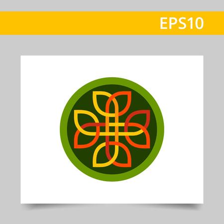celtic: Vector icon of multicolored Celtic ornament in green circle