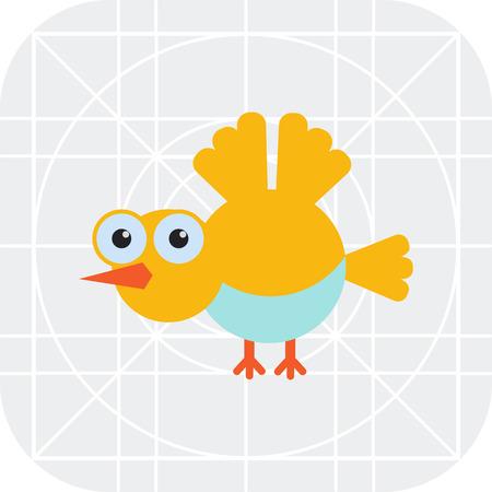 tweeting: Vector icon of flying yellow cartoon bird