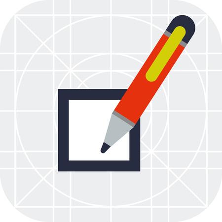 checkbox: Multicolored vector icon of checkbox and pen