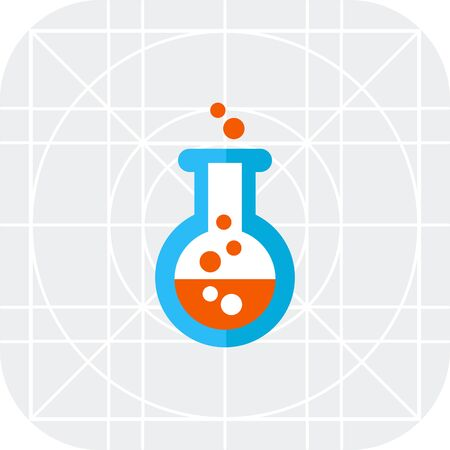 bubbling: Icon of chemical laboratory flask with bubbling liquid Illustration