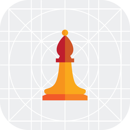 bishop: Multicolored vector icon of orange chess bishop