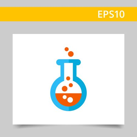 drug discovery: Icon of chemical laboratory flask with bubbling liquid Illustration