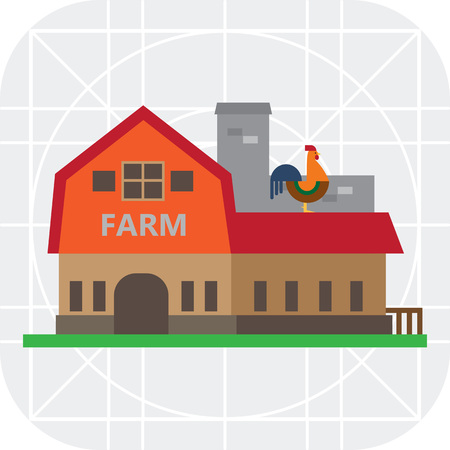 cockerel: Vector icon of farm building with cockerel sitting on roof