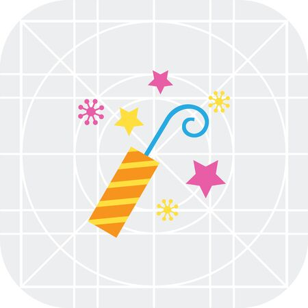 firecracker: Icon of striped firecracker and sparks