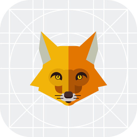 tundra: Multicolored vector icon of red fox head