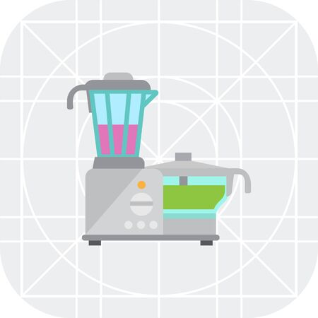 processor: Vector icon of kitchen food processor with blender and cup Illustration