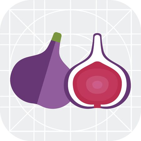 fig: Vector icon of fig and cut fig fruit icon Illustration