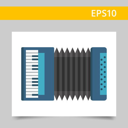 playing folk: Multicolored vector icon of blue classic accordion