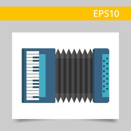 accordion: Multicolored vector icon of blue classic accordion