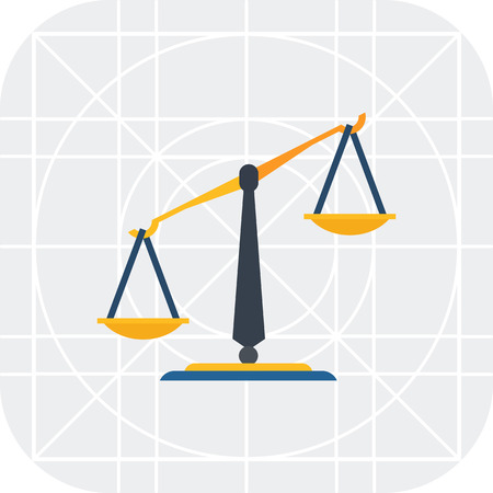balance icon: Multicolored vector icon of classic balance with pans