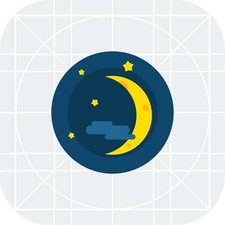 Multicolored vector icon of crescent, stars and cloud
