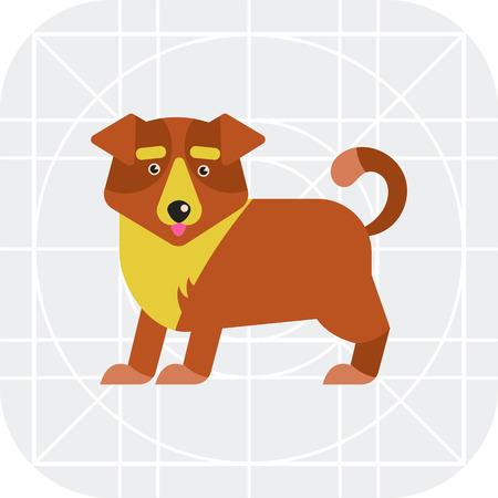 body guard: Multicolored vector icon of cute cartoon dog
