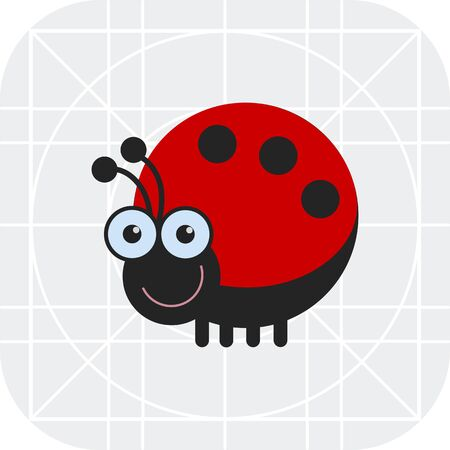 ladybird: Vector icon of cute smiling cartoon ladybird