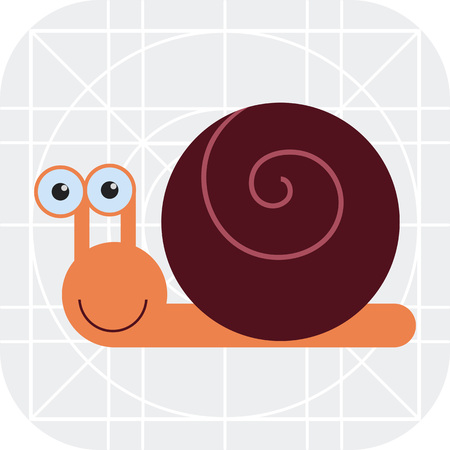 dna smile: Vector icon of cute smiling cartoon snail