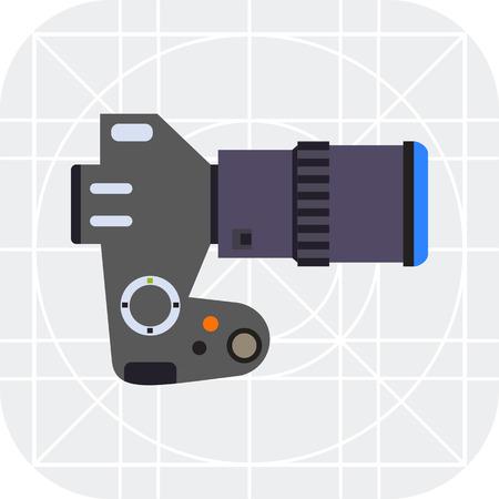 digital slr: Multicolored vector icon of digital SLR camera